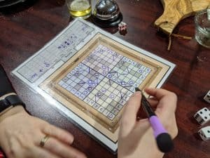 The middle of a game of Roll for Lasers
