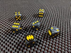 The very cool dice you get with Talisman Batman Super-Villains Edition