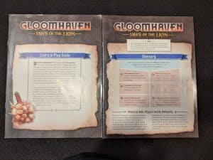 The Learn to Play and Glossary books from Jaws of the Lion the new Gloomhaven boxed set.