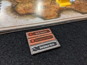 The new initiative tokens that come with Gloomhaven Jaws of the Lion