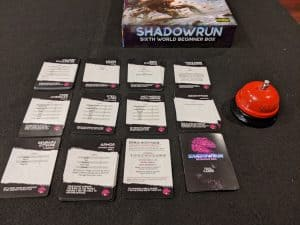 The Shadowrun Sixth World Boxed set comes with a number of cards so you don't have to look up rules during play.