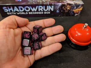 Custom Shadowrun Dice that come with the Beginner Box.