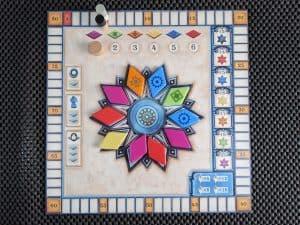 The bonus board with scoring and bonus tiles in Azul Summer Pavilion