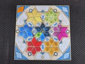 Azul Summer Pavilion, a player board from this tile laying game.