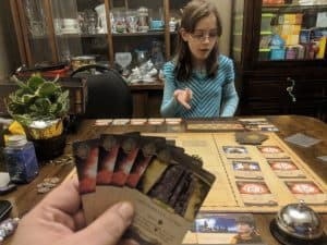 Playing Harry Potter Hogwarts Battle with my daughter.