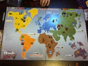 Our Risk Legacy board after a number of games.
