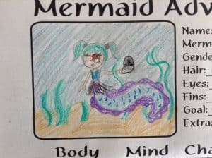 My daughters rendition of her character in Mermaid Adventures.