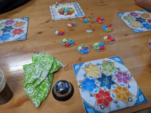 A three player game of Azul Summer Pavilion
