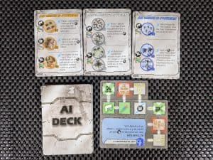 The AI deck from Flick Wars which turns in into a solo boardgame or cooperative.