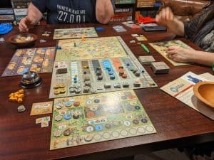 A three player game of Orleans using the new deeds board and events.