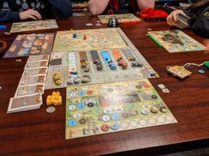 A four player game of Orleans using a lot of the new stuff from Trade & Intrigue.