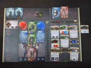 A character board part way through a game of Sanctum.