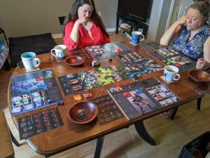 All set up for a four player game of Sanctum from CGE