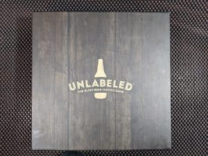 The box for Unlabeled the Blind Beer Tasting Game