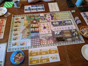 The start of a four player game of Vinhos Deluxe