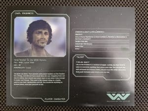A sample pre-generated character from the Alien RPG