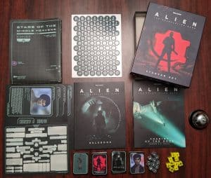 The contents of the ALIEN The Roleplaying Game Starter Set