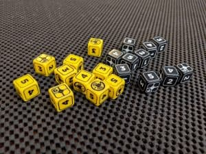 The custom dice included in the ALIEN The Roleplaying Game Starter Set