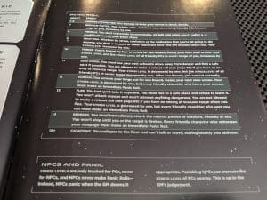 The Panic Table from ALIEN The Roleplaying Game Starter Set