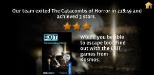 Our final score in EXIT The Catacombs of Horror