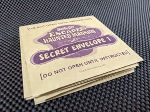 A pile of Secret Envelopes from Scooby-Doo Escape From The Haunted Mansion