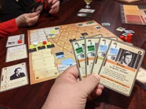 Playing the Nixon administration in a game of Watergate from Capstone Games.