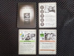 The Washington Press' cards in the hobby board game Watergate.