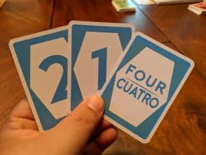 A hand of cards in the party game Ratuki