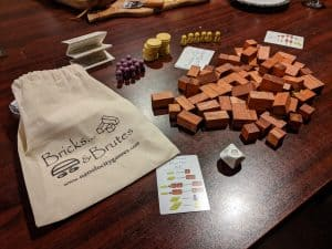 The components of the kids' game Bricks & Brutes