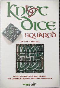 The box for Knot Dice Squared an expansion for Knot Dice featuring new Celtic knotwork dice.