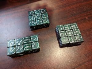 The new dice in Knot Dice Squared. put into patterns.