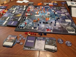 The end of a three player game of Tyrants of the Underdark
