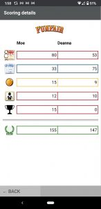 Screenshot of the Funfair scoring app.