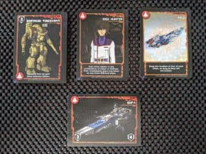 A sampling of cards for the Robotech Defense Force in Robotech Force of Arms the card game.