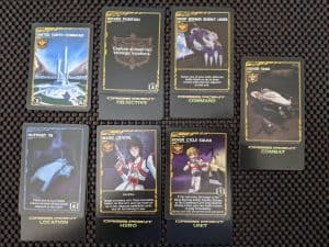 Some of the cards from Robotech Crisis Point a two player Robotech Card Game