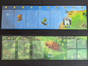 The player board and new Mead Hall board from Hall of Heroes and expansion for Raiders of the North Sea.