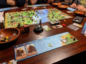 Part way through a game of Raiders of the North Sea using the Hall of Heroes expansion.