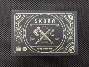 The box for Skora, designed to be the size and have the look of a lunch box.