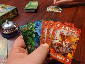A hand of cards in Fairy Season a fairy themed card game.