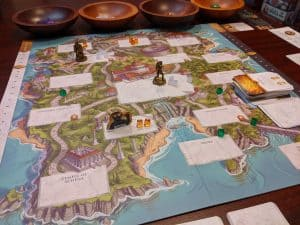 Playing Wonder Woman Challenge of the Amazons a cooperative board game.