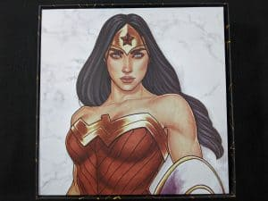 The back of the board for Wonder Woman Challenge of the Amazons