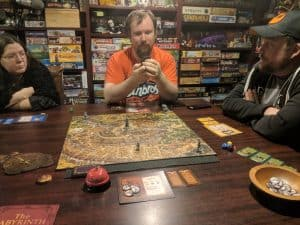 Playing the Labyrinth board game with my regular game group.