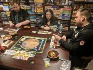 My Monday night game group playing some Terraforming Mars