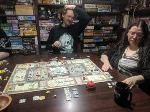 Tom is enjoyed a game of Teotihuacan during one of our Monday game nights.