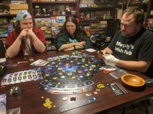 Playing Pulsar 2849 with my Monday night board game group.