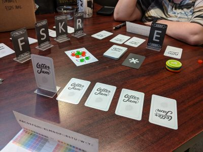 Playing Letter Jam the party game with two players.