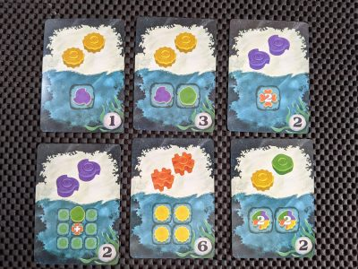 Example cards from the abstract game Reef