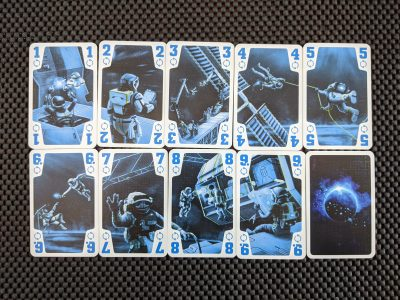 The blue suit cards from the trick-taking card game The Crew