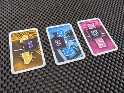 Task cards with tokens for a game of The Crew