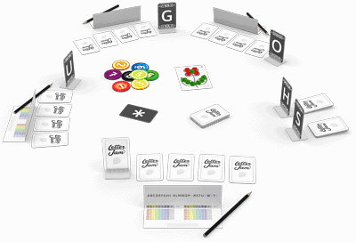 The set up for a game of Letter Jam (pic from the publisher)